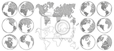 Bild Sketch map. Hand drawn earth globe, drawing world maps and globes sketches isolated vector illustration