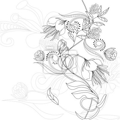 Sketch mit Blumen