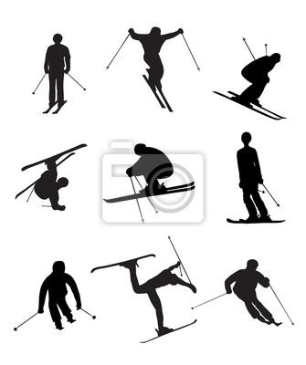 Skifahren Silhouetten auf den weißen Hintergrund