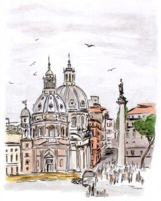 Bild Skizze der Platz in Rom