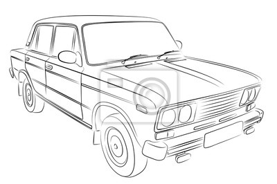 Skizze des retro-autos. leinwandbilder • bilder PKW, altes Auto ...