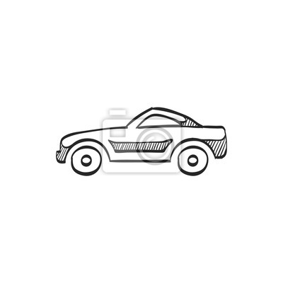 Skizze-symbol - sportwagen leinwandbilder • bilder coupe, Piktogramm ...