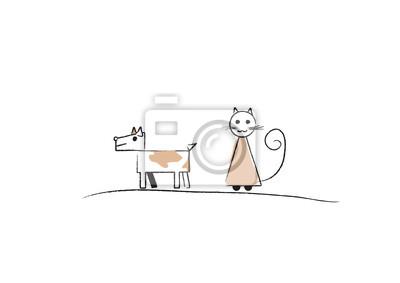 Skizze von Hund und Katze; einfache, Vektor