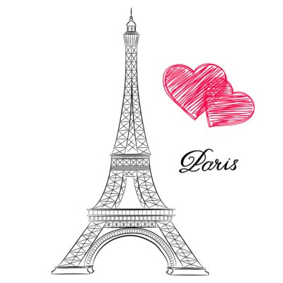 Bild Skizze von Paris, Eiffelturm mit Herzen. Abbildung