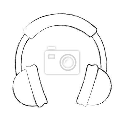Skizze Zeichnen Kopfhorer Cartoon Vektor Grafikdesign Leinwandbilder
