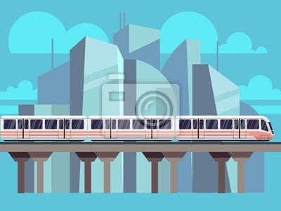 Bild Sky Train, U-Bahn-Landschaft Flaches Konzept. Vector Zug Transport-Konzept auf Stadt Hintergrund