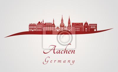 Bild Skyline von Aachen in rot