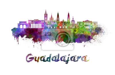 Bild Skyline von Guadalajara im Wasserfarben