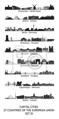 Bild Skylines von den Hauptstädten der Europäischen Union - 01 eingestellt