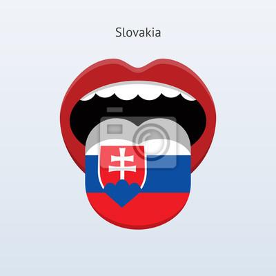 Slowakei Sprache. Abstrakt menschliche Zunge.