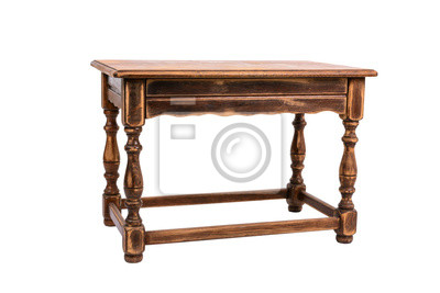 Bild Small old wooden table isolated on white background - image
