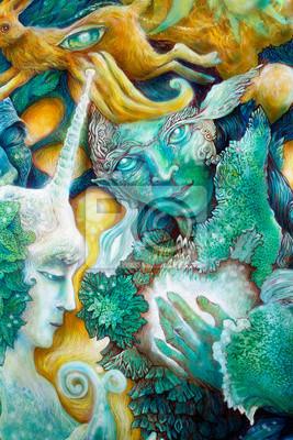 Smaragdgrünen Elfen Kreatur in einer Fee Reich, schön bunt