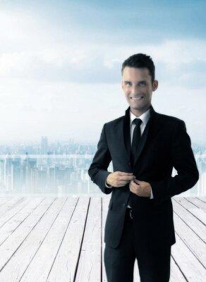 Bild Smart-sexy Geschäftsmann auf einem Dach