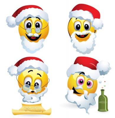 Smileys gekleidet als weihnachtsmann. smiley feiern. smiley ist ...