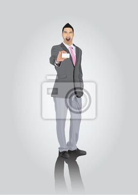 Smiling Geschäftsmann mit Bart zeigt Visitenkarte