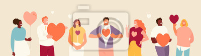 Bild Smiling people group holding hearts. Valentine s Day. Love and volunteering vector illustration