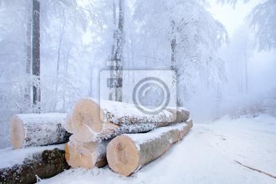 Snowy Stapel von Holz