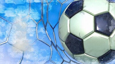 Soccer ball illustration combined pencil sketch and watercolor sketch. 3D illustration. 3D CG. High resolution.
