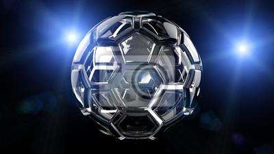 Soccer ball with blue flash light under black background. 3D illustration. 3D high quality rendering.