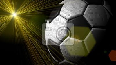 Soccer ball with flash light under black background. 3D illustration. 3D high quality rendering.