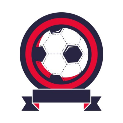 soccer balloon sport with ribbon frame championship