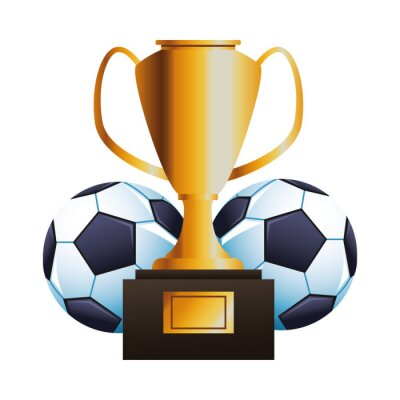 soccer balloon with trophy cup sport championship