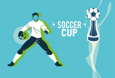 Soccer goalkeeper player man with ball and trophy vector design