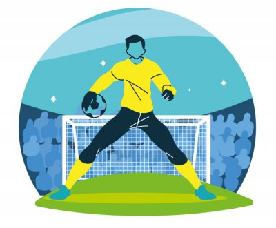 Soccer goalkeeper player man with ball in front of goal vector design