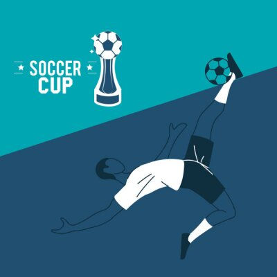 Soccer player man with ball and trophy vector design