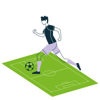 Soccer player man with ball on court vector design