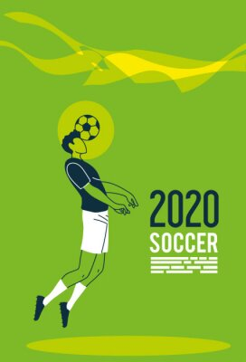 Soccer player man with ball vector design