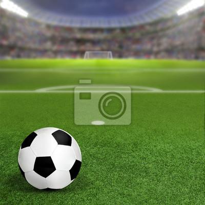 Soccer Stadium Mit Ball auf Feld und Textfreiraum