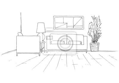 Sofa Stuhl Tisch Mit Lampe Und Eine Grosse Topfpflanze