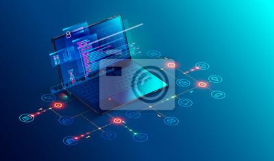 Bild Software, Webentwicklung, Programmierkonzept.  Abstrakte Programmiersprache und Programmcode auf dem Bildschirm Laptop.  Firmennetzwerk für Laptops und Symbole.  Technologieprozess der Softwareentwick