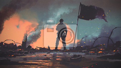 Bild soldier standing alone after the war in battlefield, digital art style, illustration painting