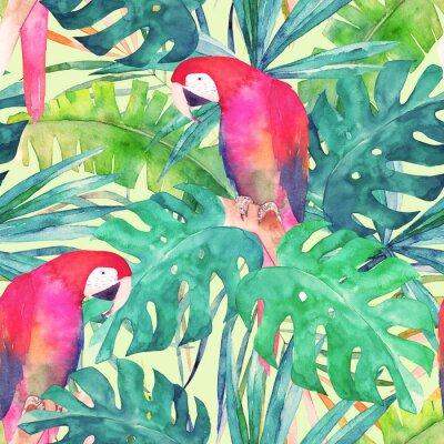 Bild Sommer nahtlose Muster mit Aquarell Papagei, Palmblätter. Bunte Illustration