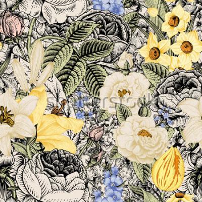 Bild Sommer nahtloses Blumenmuster. Vintage Blumen Art. Blumenrosen, weiße und gelbe Lilien, Narzissen, Tulpen und blaues Rittersporn und Vergissmeinnicht auf beigem und schwarzem Hintergrund.