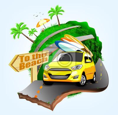Sommer-surfen-abenteuer plakat-entwurf mit gelber auto-behandlung ...