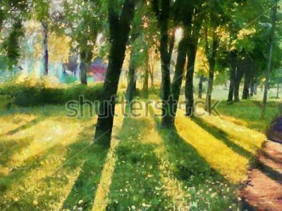 Bild Sommerlandschaft Die Bäume im Park, ein Schatten auf dem Rasen. Aquarell. Zum Bedrucken von Keramik und Stoff.