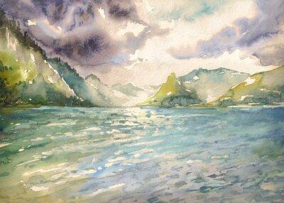 Bild Sommerlandschaft mit Bergsee gemalt mit Aquarellen