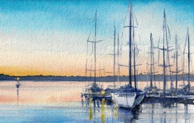 Bild Sommerlandschaft mit Segelboote in der Bucht.