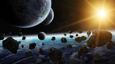 Bild Sonnenaufgang über Gruppe von Planeten im Raum