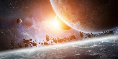 Bild Sonnenaufgang über Planeten Erde im Raum