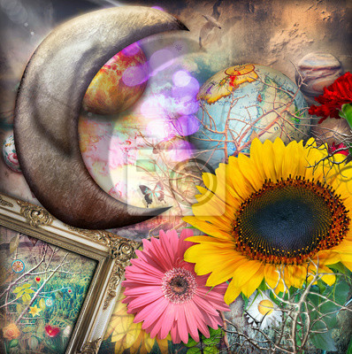 Sonnenblume der Sommerzeit mit silbernem Mond der Märchen und Farbe