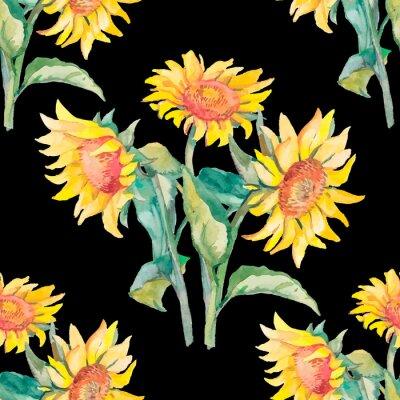 Bild Sonnenblumen Muster Aquarell.