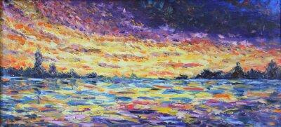 Bild Sonnenuntergang über dem See, Ölgemälde