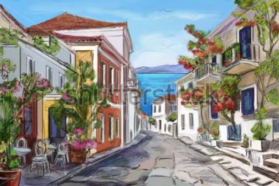 Bild sonnige Küste in Griechenland. bemalte Hände.