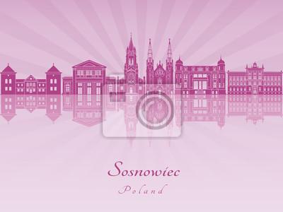 Bild Sosnowiec Skyline in lila strahlende Orchidee