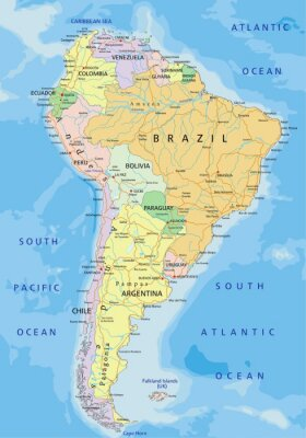 South america - highly detailed editable political map ...