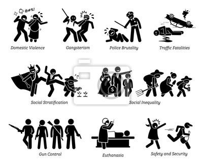Soziale probleme und kritische fragen strichmännchen-piktogramm ...